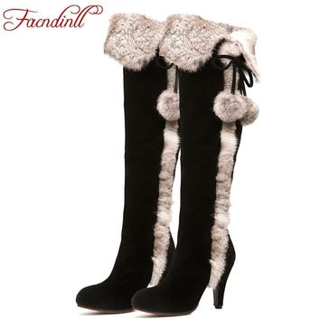 FACNDINLL women snow boots 2017 winter thin high heels warm real leather fur long plush black shoes woman over the knee boots