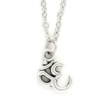 Om Necklace Antique Silver Tone Aum Charm NY37 Hindu Buddhist Yoga Sanskrit Pendant Fashion Jewelry