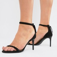 Bershka barely there skinny sandal in black at asos.com