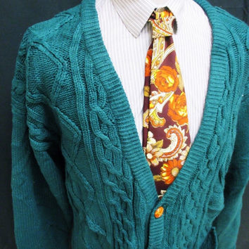 Vintage 90s Revival Green Cable Knit Chunky Grunge Cardigan XL Tall
