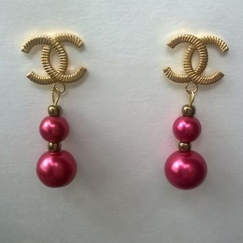 Beautiful Designer Inspired Modern Faux Pearl Earrings