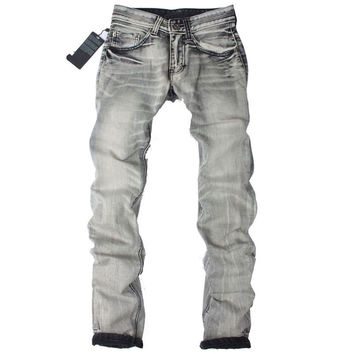 Men's Light Washed Grey Jeans
