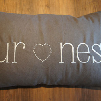 Our Nest or Custom Text 16x24 Gray Wool embroidered heart envelop back throw pillow INCLUDES down pillow insert-pillow form