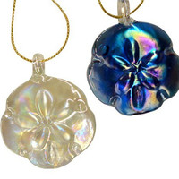 Set of 4 Glass Sand Dollar Coastal Holiday Ornaments (Individually Gift Boxed)