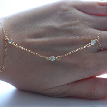 slave bracelet - hand chain 14k gold filled and 3 cz cubic zirconia diamonds ring chain bracelet