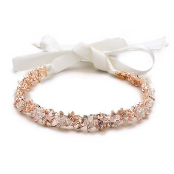 Slender Rose Gold Bridal Headband with Hand-wired Crystal Clusters and White Ribbons