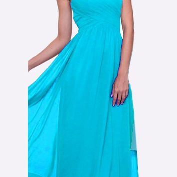 Long Bridesmaid Mint Dress Empire Waist Pleated Bodice