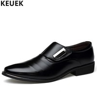 Spring Autumn Men Casual Leather shoes Pointed Toe Office business dress shoes