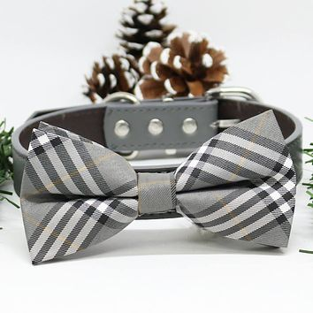 Gray Plaid Dog Bow Tie collar, Chic Dogs Bow tie, Puppy Lovers, Pets Wedding, gift