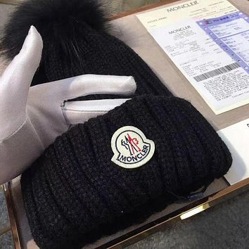 Moncler Trending Unisex Leisure Beanies Knit Winter Warm Hat Cap Black I
