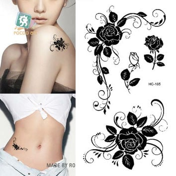 HC1185 Women Sexy Finger Flash Fake Tattoo Stickers Black White Flowers Rose Design Water Transfer Temporary Tattoo Sticker