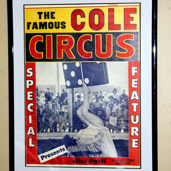 The Famous Cole Circus Miss Patti Foot Juggler Poster Vintage 1960s Circus Posters