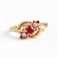 Diamond & Paste Ring - Antique 10k Rosy Yellow Gold Created Ruby Three Stone - Vintage Edwardian Size 5 1/4 July Birthstone Fine Jewelry