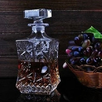 1PC New Engraved Waist Shape Crystal Whisky Wine Bottle Liquor Jug Container Red Wine Decanter Aeration Party Bar Set JR 1091