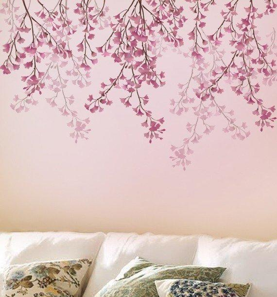 STENCIL FOR WALLS Weeping Cherry Reusable by CuttingEdgeStencils