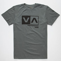 Rvca Cut Out Box Mens T-Shirt Grey  In Sizes