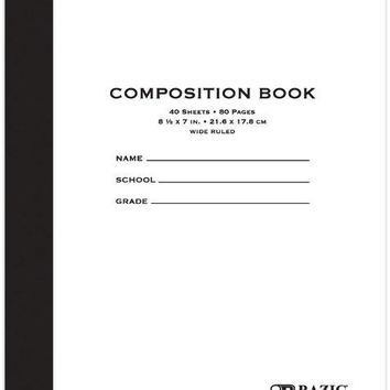 """BAZIC 40 ct. 8.5"""""""" x 7"""""""" Manila Cover Composition Book Case Pack 24"""