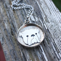 English Bulldog Necklace Pendant, hand made, hand cut