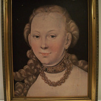 Vintage  French Style Portrait Gold Frame Of Blonde Lady 1950s Wall Decor