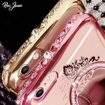 Luxury Diamond Mirror Case For Iphone X Rose Gold Soft Silicone Cover For IPhone 6s 6 7 8 Plus Cases 5s SE Shoockproof Shell