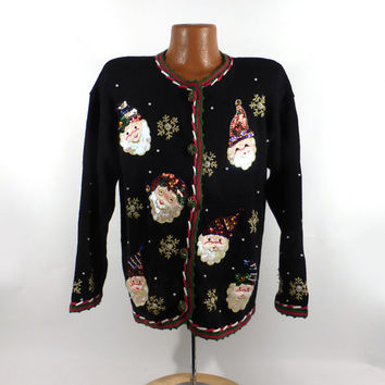 Ugly Christmas Sweater Vintage Cardigan Sequin Santas Women's size L