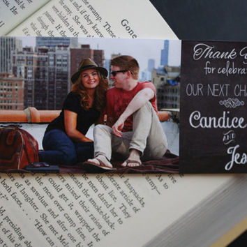 Wedding Favor Bookmarks. Rustic chalkboard style.