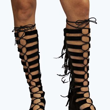 Ellie Ghillie Tie Up Knee High Fringe Boot