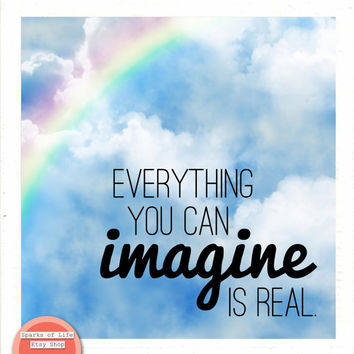 Square digital download, Picasso, Everything you can imagine is real, instant printable art, inspirational quote print, rainbow, sky, clouds