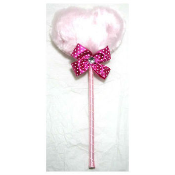 Zink Color Large Pink Heart Shape Lollipop Dusting Powder Puff W/ Ribbon
