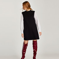 DRESS WITH CONTRASTING SLEEVES DETAILS