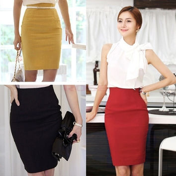 Women's Slim Retro Casual High Waist Bag Hip Knee Length Office Lady Pencil Skirt 13810 = 1946445188