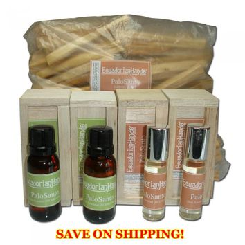 Palo Santo Aromatherapy Bundle: Essential oils and incense.