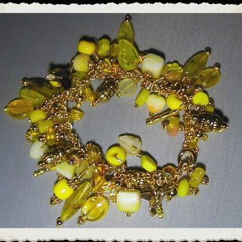 Sunny Yellow Charm Style Glass Bead Treasure Bracelet   ~Charm Bracelet~YellowBracelet~Chain Bracelet~Beaded Bracelet~Boho Bracelet