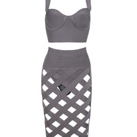 Gray Lattice Bandage Dress