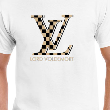 Gold Checkered Louis Vuitton Lord Voldemort Harry Potter Logo T-Shirt