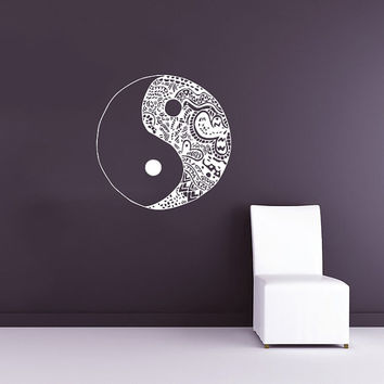 Wall Decal Vinyl Sticker Decals Art Home Decor Murals Yin Yang Symbol Floral Patterns Ornament Geometric Chinese Asian Religious Decal AN570
