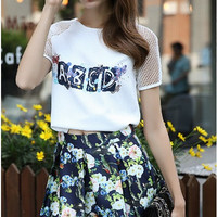 """ABCD"" Printed Tee Floral Skater Skirt Set"