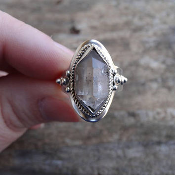 Sterling Silver Natural Herkimer Diamond 925 Ring Size 7.5 - double-terminated quartz crystal ring - Natural Stone Ring size 7 8 - Diamond