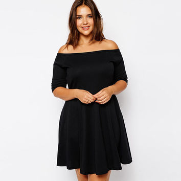 Black Plus Size Zippers One Piece Dress = 4804162308