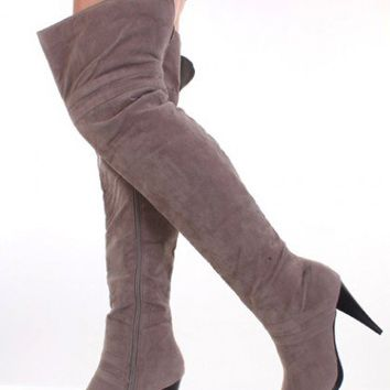 Grey Soft Faux Suede Thigh High Closed Toe Boots @ Amiclubwear Boots Catalog:women's winter boots,leather thigh high boots,black platform knee high boots,over the knee boots,Go Go boots,cowgirl boots,gladiator boots,womens dress boots,skirt boots,pink boo