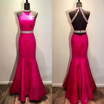 Real Photo Red Rhinestone Mermaid Prom Dresses Sexy Backless Halter Neck Long Prom Gowns Designer Beading Women Evening Dress
