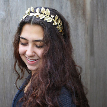 Gold Leaf Headband - Leaf Crown, Greek Goddess, Gold, Headband, Holiday Fashion, Toga, Greek Headpiece, Greek, Gold Leaf, Gift Idea, Tiara