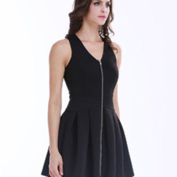 Black Sleeveless V Neck Zippered Pleated Dress