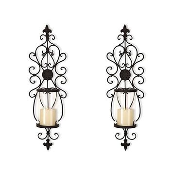 Adeco Iron and Glass Vertical Wall Hanging Candle Holder Sconce | Overstock.com Shopping - The Best Deals on Candles & Holders