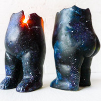 Astro Tushiez Candle Crack Figurine - Black Ceramic Candle Holder - Outer Space Galaxy - Art Doll Moon Man - Limited Edition