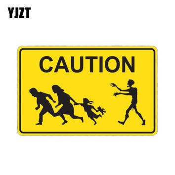 YJZT 12.4x8cm Caution ZOMBIE Crossing Interesting Retro-reflective Car Stickers Decals Motorcycle Car-styling C1-8074