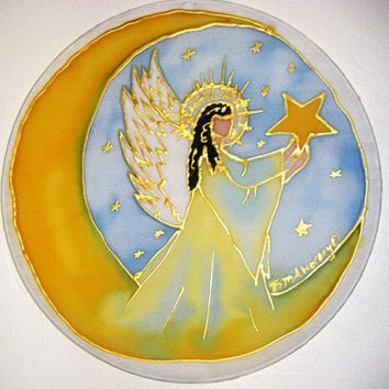 "Guardian Angel Mandala"" Reach for the Stars"" angel art, mandala art, spiritual art,Made To Order"