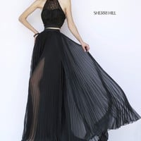 Sherri Hill 32109 - Black Two Piece Chiffon Dress - RissyRoos.com