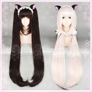 NEKOPARA Chocolat Vanilla Kawaii Long Ponytails Brown Cosplay Wig +Wig cap