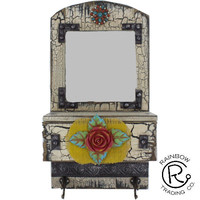 Mirror W/Drawer & Hook Wall Plaque